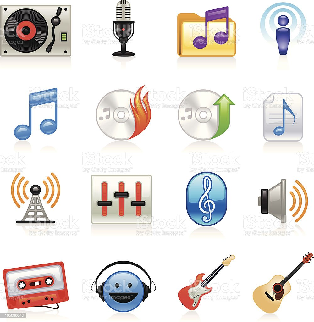 Music Icons - Color vector art illustration