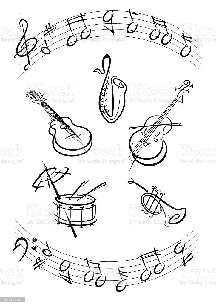 music instruments in black royalty-free stock vector art