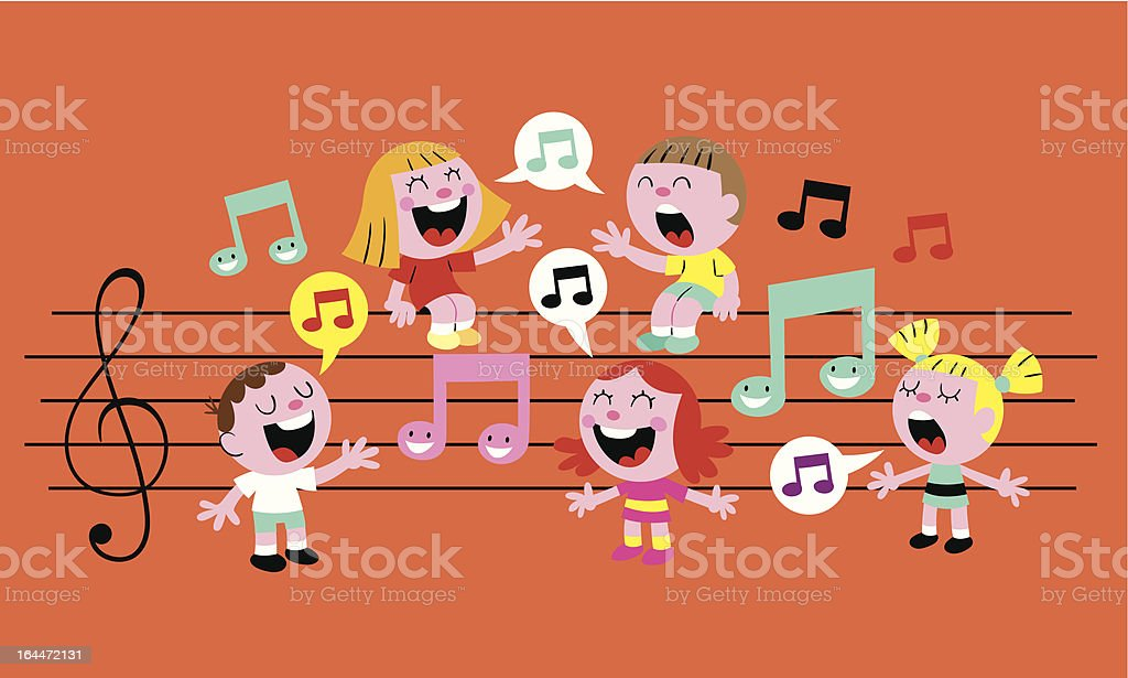 music kids vector art illustration