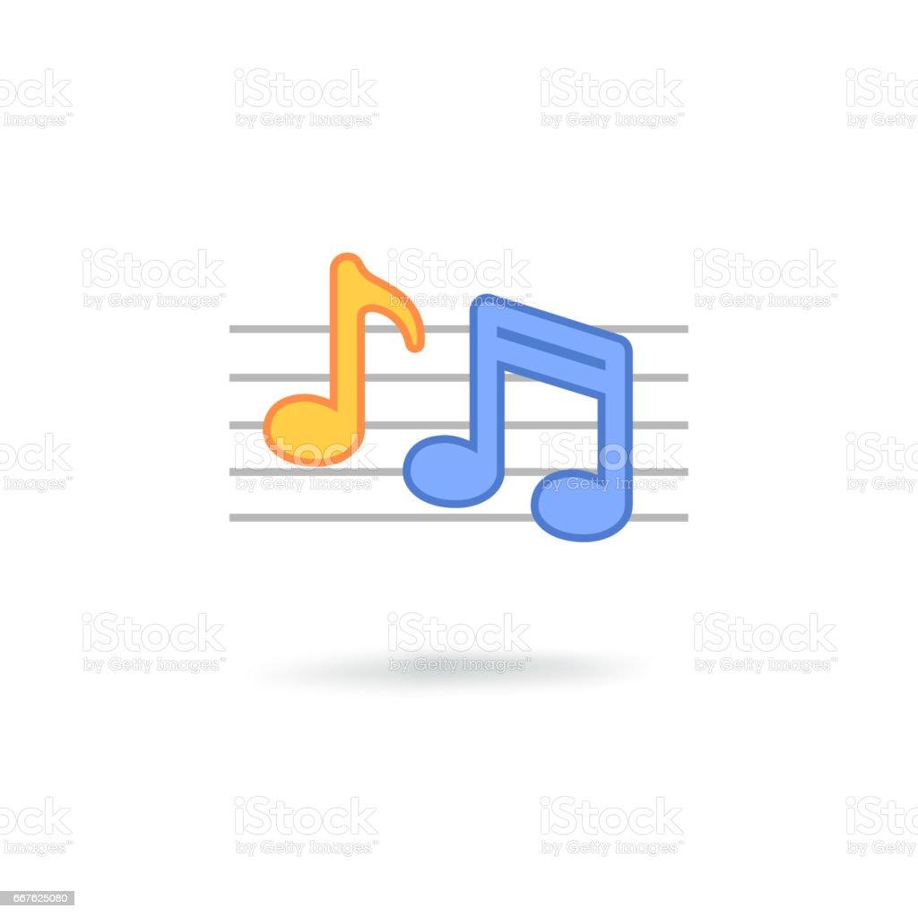 Music note icon vector art illustration