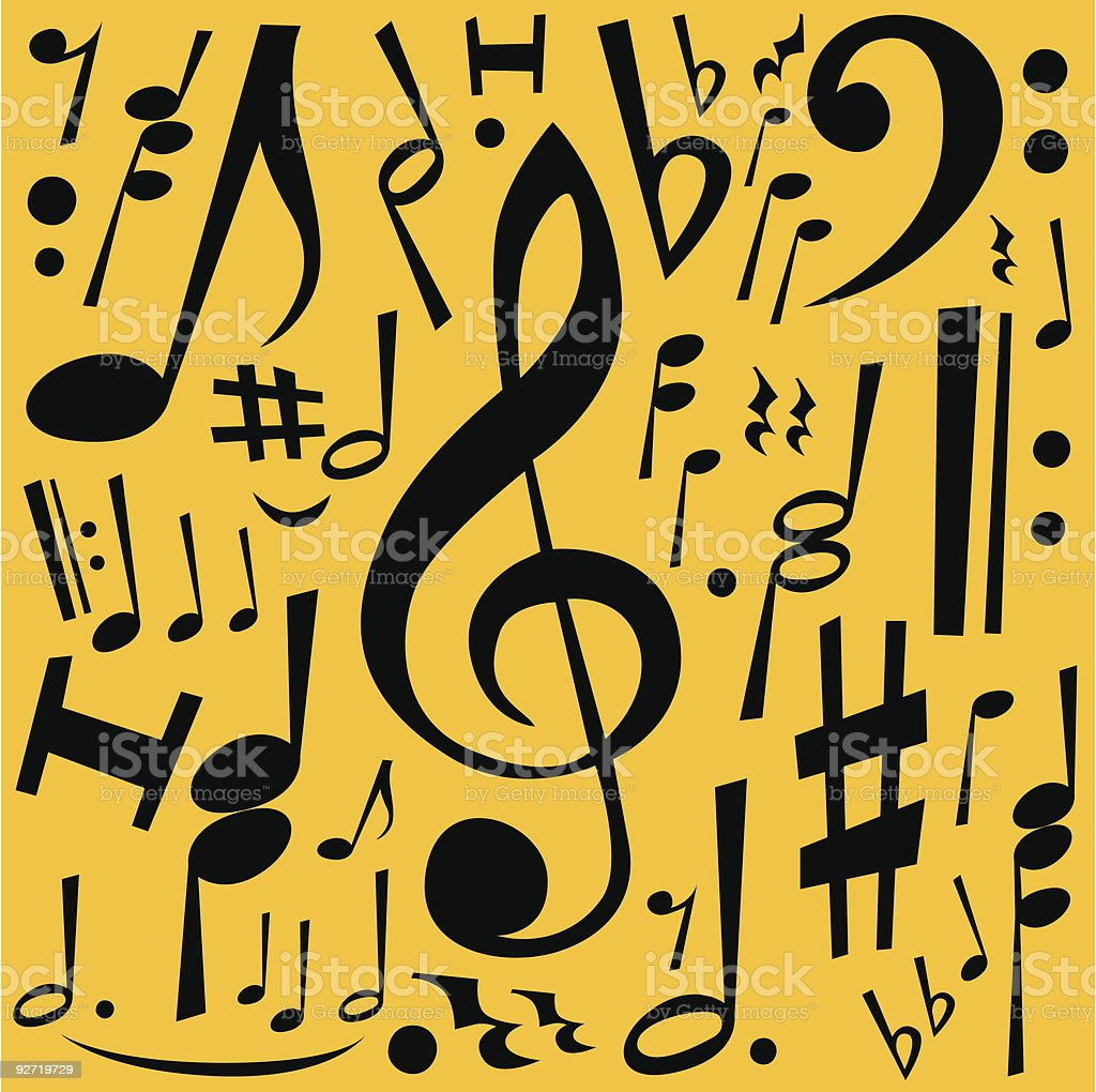 Music Notes Freehand Drawing royalty-free stock vector art