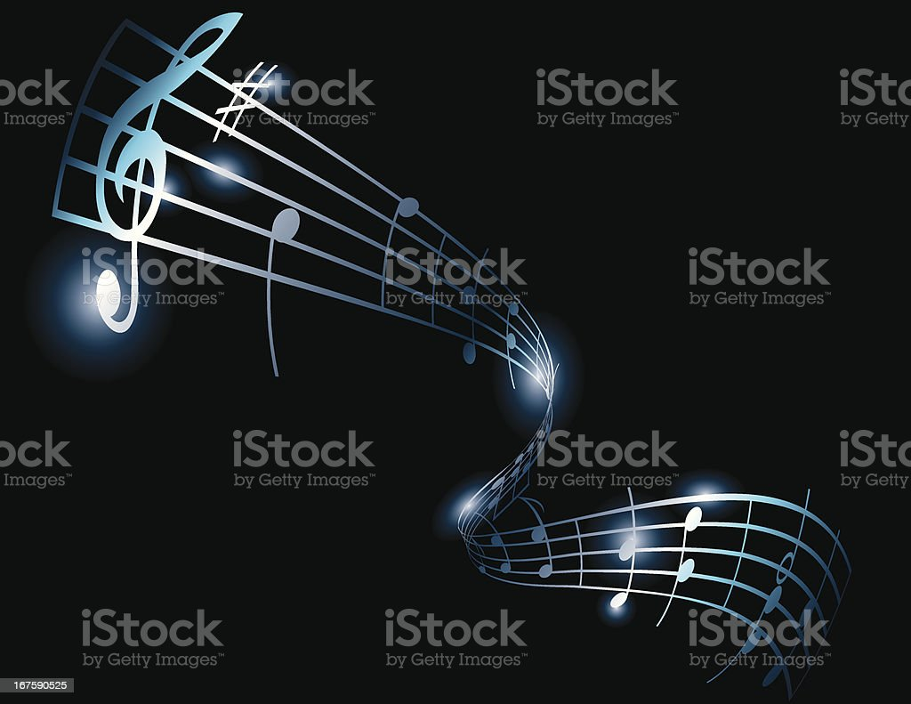 Music notes on bars vector art illustration