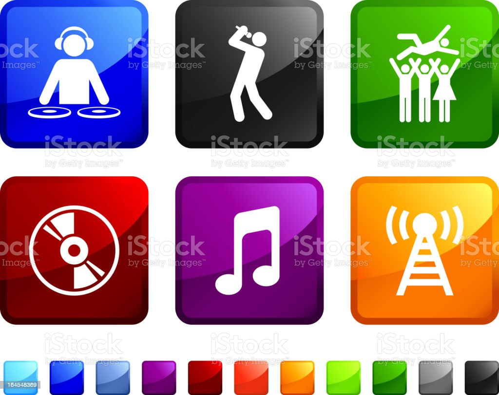 music party royalty free vector icon set stickers vector art illustration
