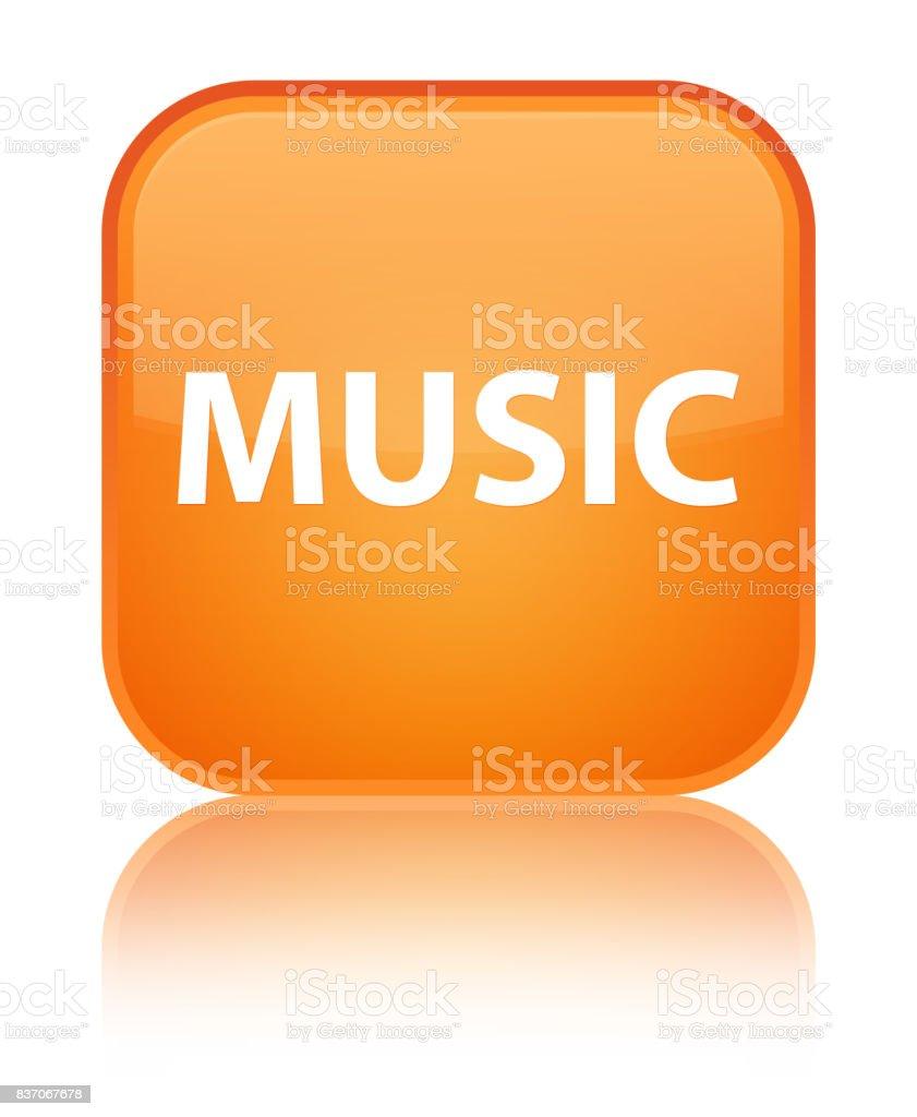 Music special orange square button vector art illustration