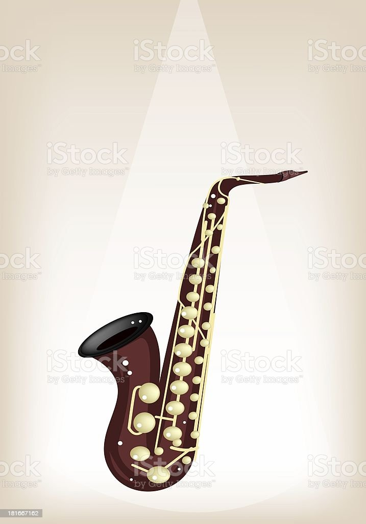 Musical Alto Saxophone on Brown Stage Background royalty-free stock vector art