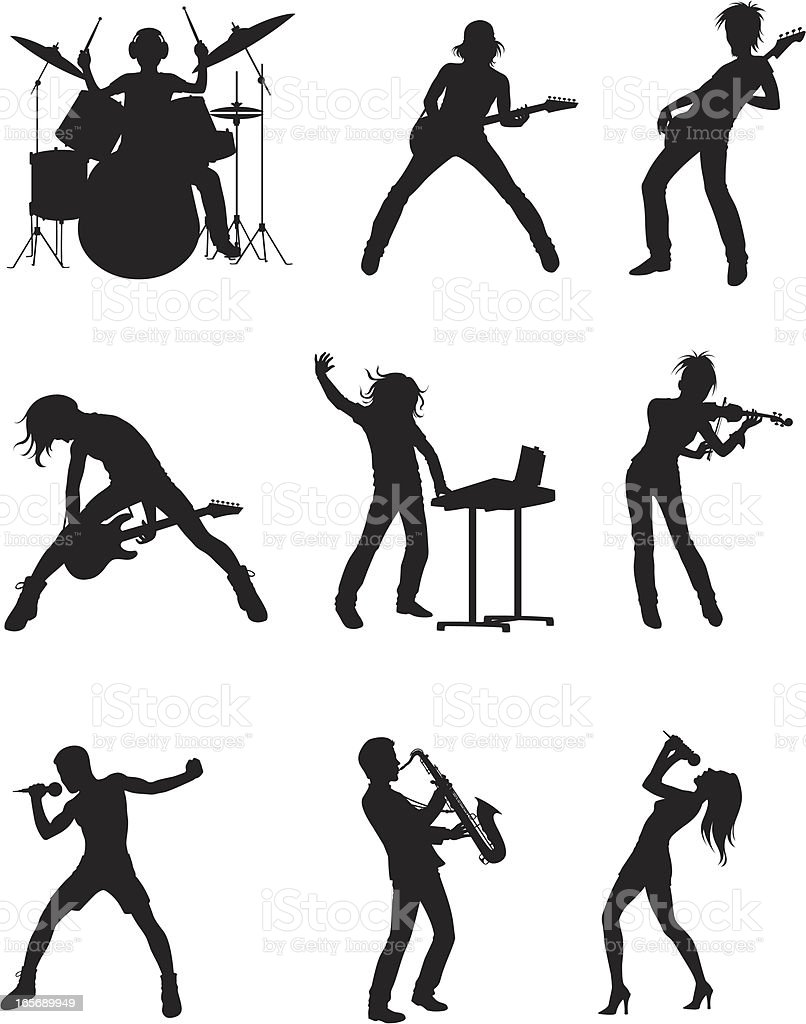 Musical bands vector art illustration