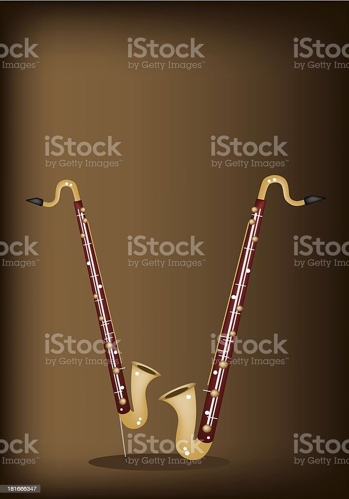 Musical Bass Clarinet on Dark Brown Background royalty-free stock vector art