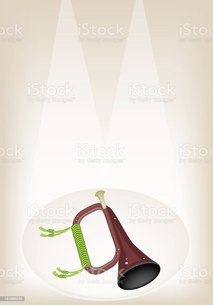 Musical Bugle on Brown Stage Background royalty-free stock vector art
