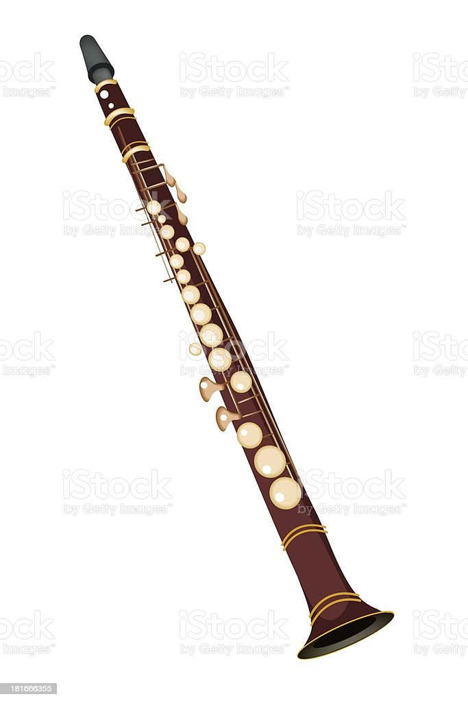 Musical Clarinet Isolated on White Background royalty-free stock vector art