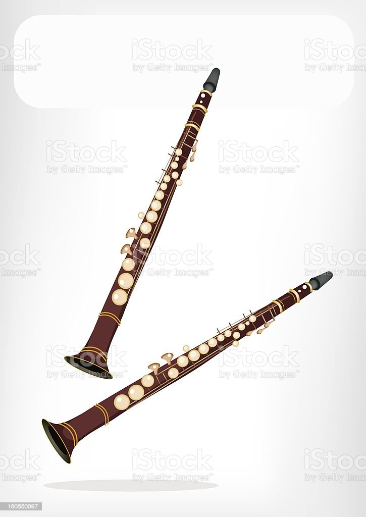 Musical Clarinet with A White Banner royalty-free stock vector art