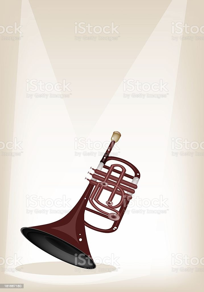 Musical Cornet on Brown Stage Background royalty-free stock vector art