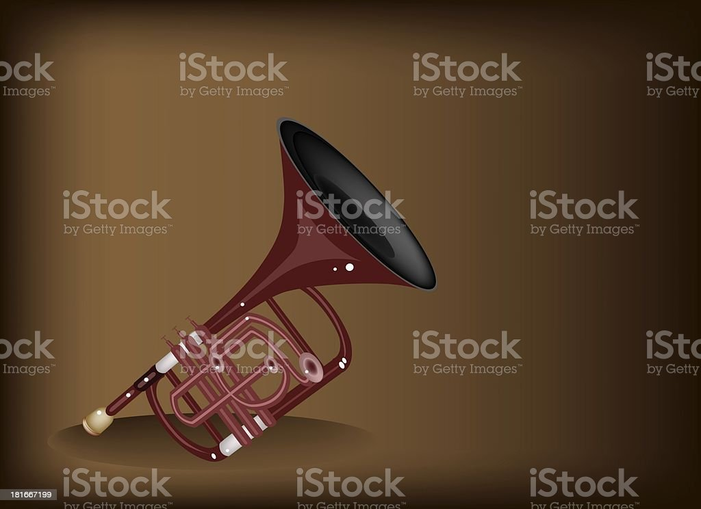 Musical Cornet on Dark Brown Background royalty-free stock vector art