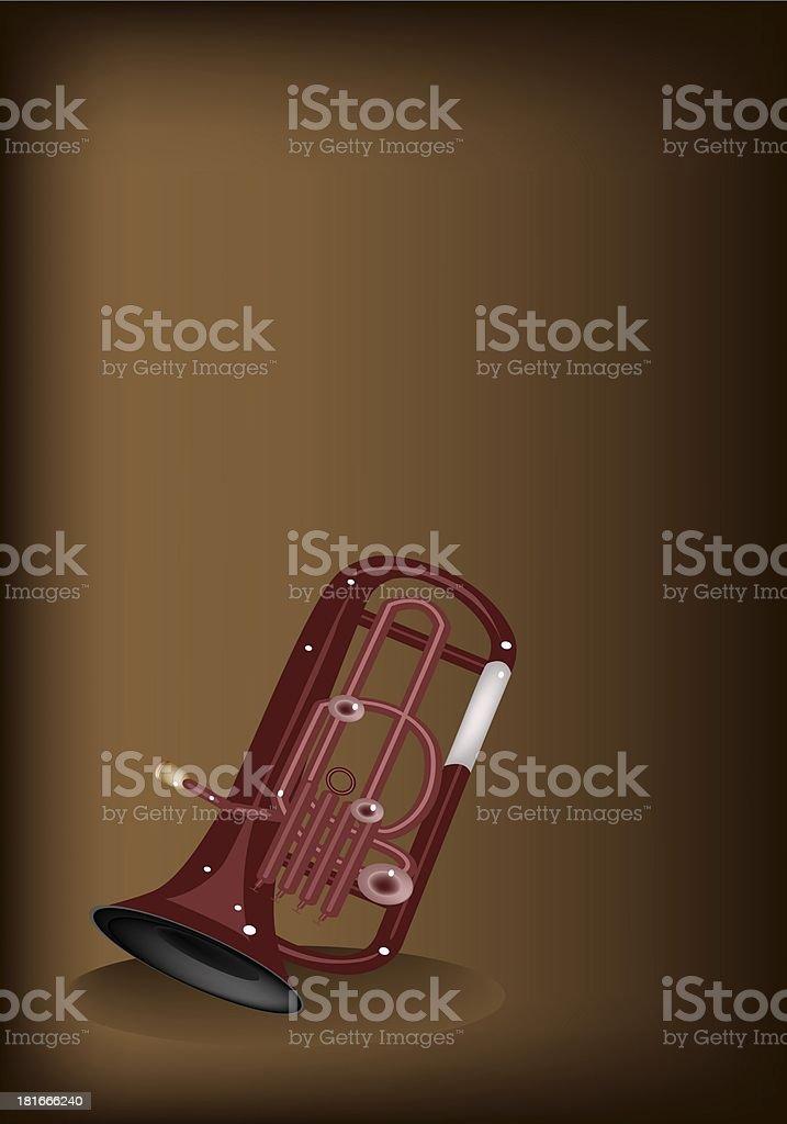 Musical Euphonium on Dark Brown Background royalty-free stock vector art