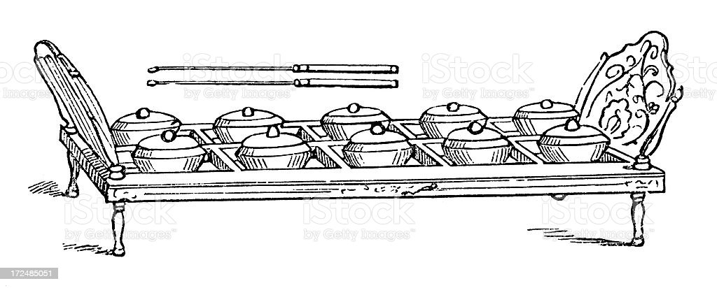 Musical instrument from the Philippines (antique wood engraving) royalty-free stock vector art