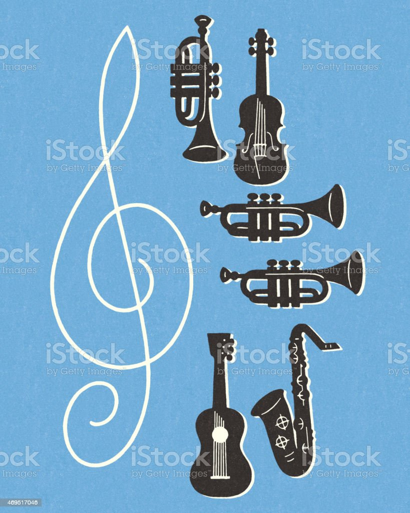 Musical Instruments vector art illustration