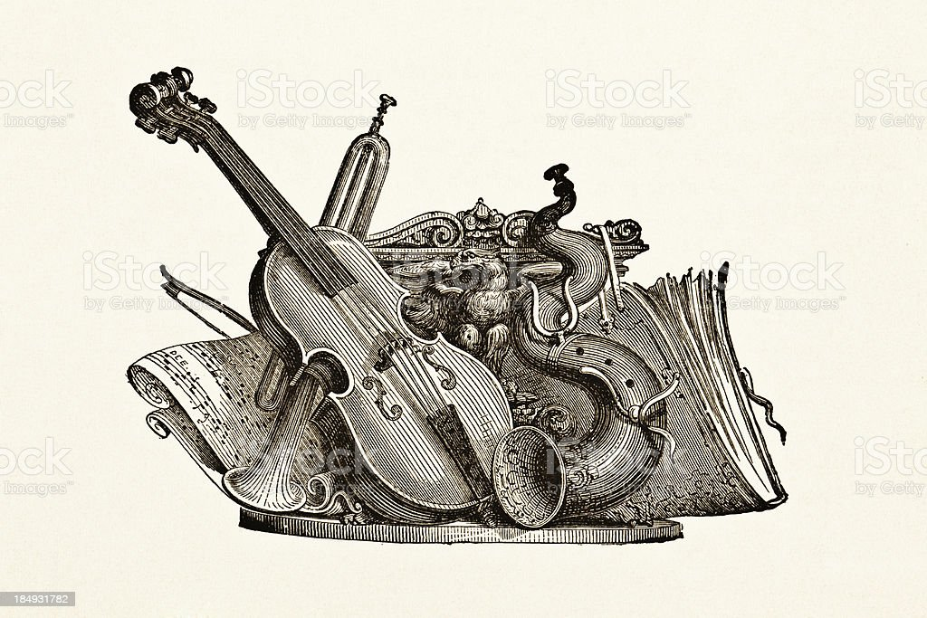 Musical Instruments - Victorian Steel Engraving royalty-free stock vector art