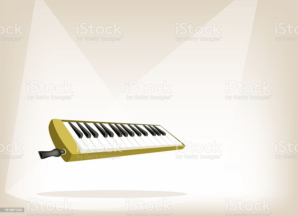 Musical Melodica on Brown Stage Background royalty-free stock vector art