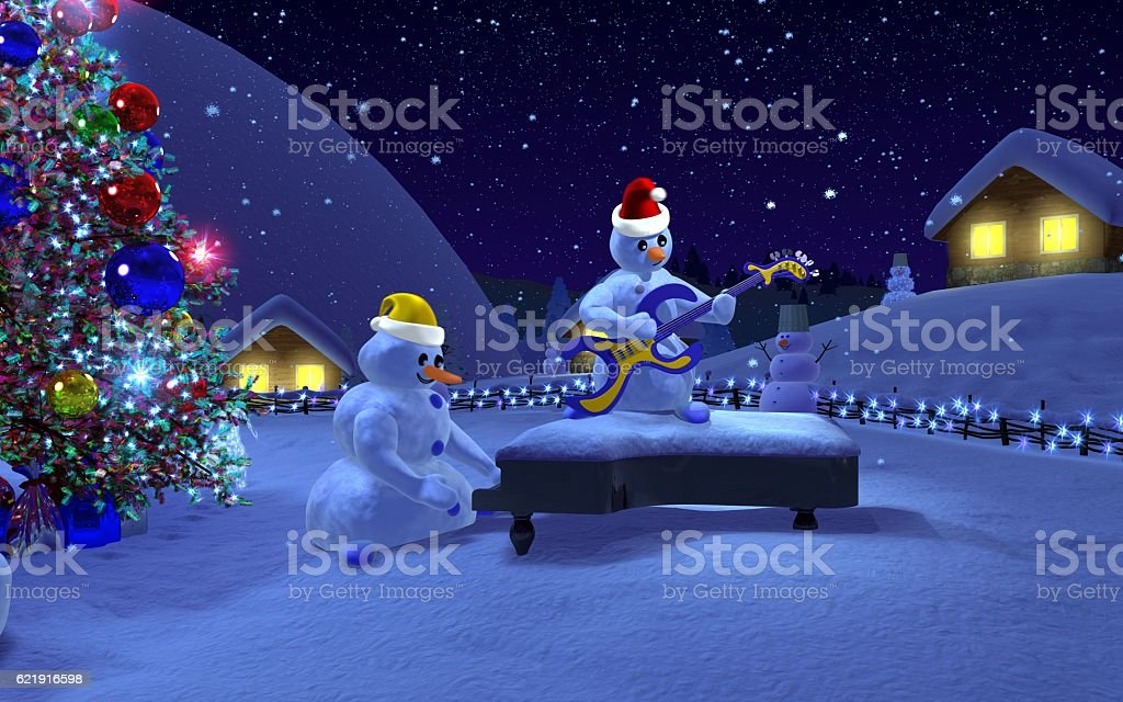 Musical snowmen! vector art illustration