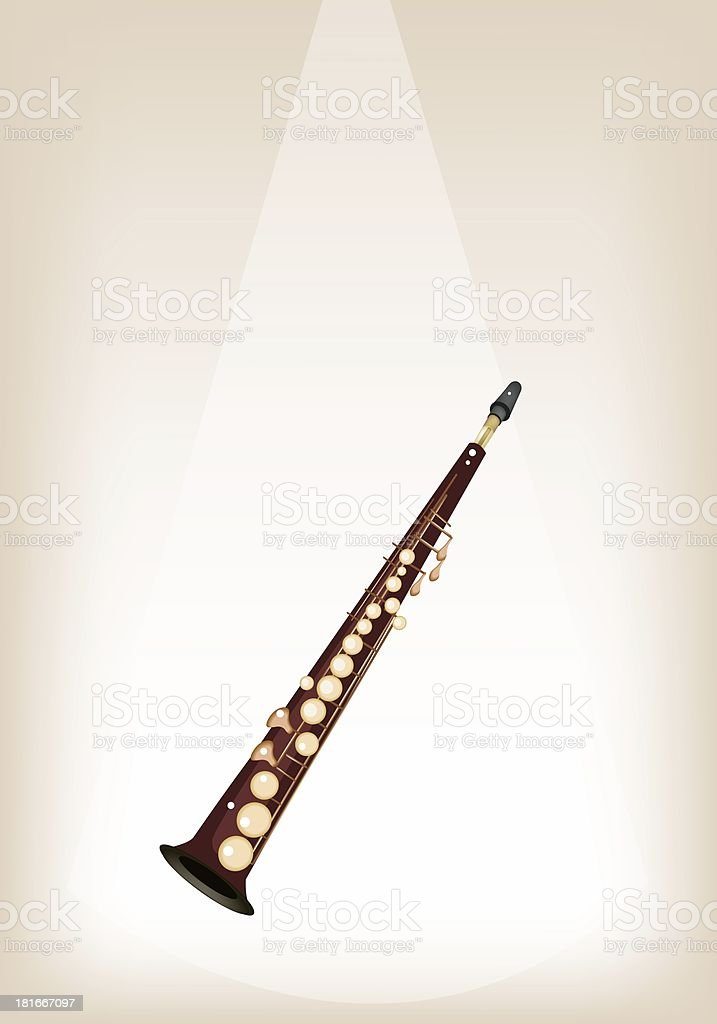 Musical Soprano Saxophone on Brown Stage Background royalty-free stock vector art