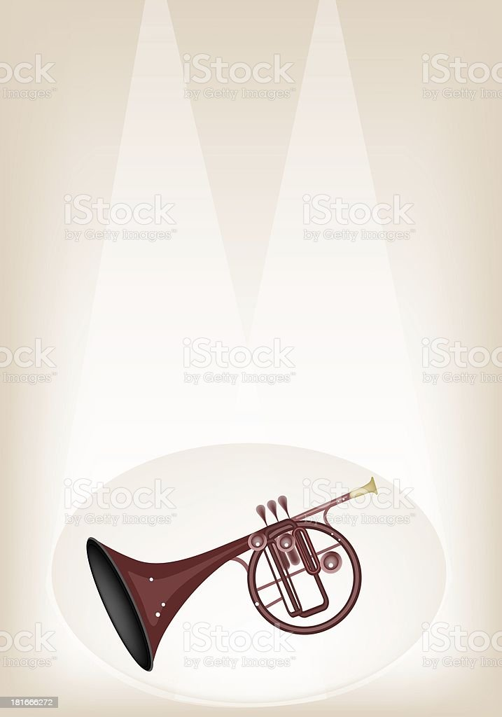 Musical Straight Mellophone on Brown Stage Background royalty-free stock vector art