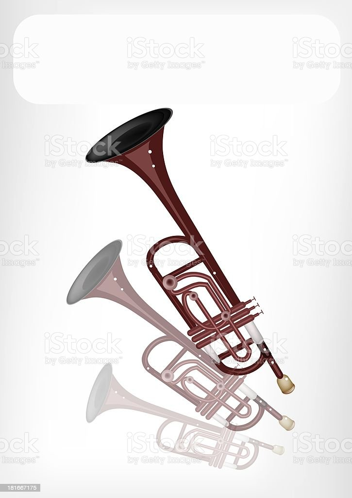 Musical Trumpet with A White Banner royalty-free stock vector art
