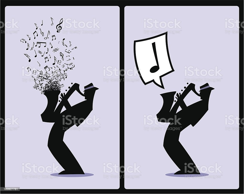 Musician Silhouette Sax Player royalty-free stock vector art