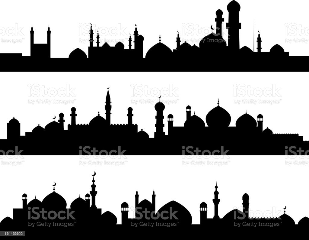 Muslim cities silhouettes vector art illustration