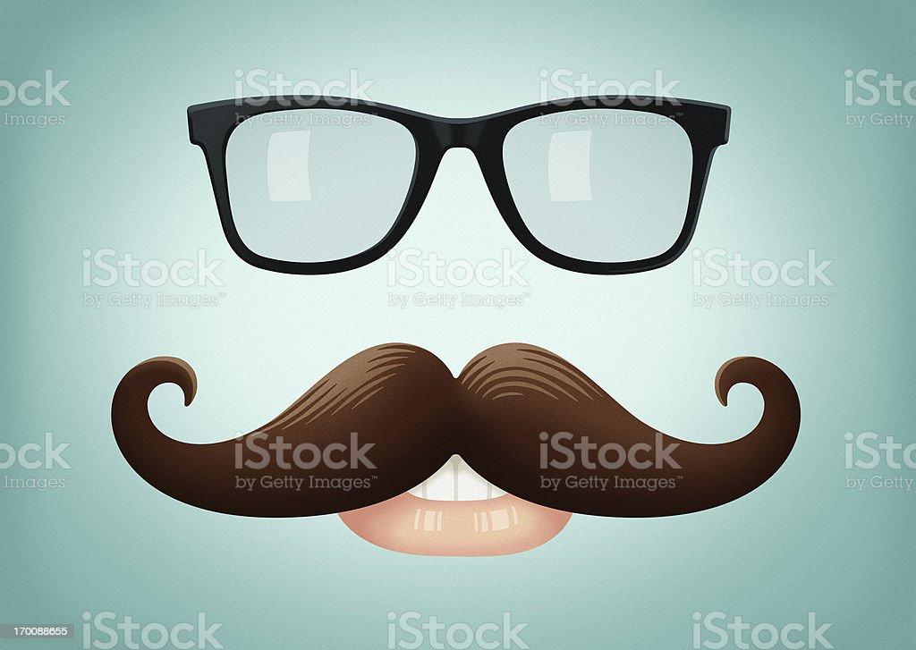 Mustache and Glasses vector art illustration
