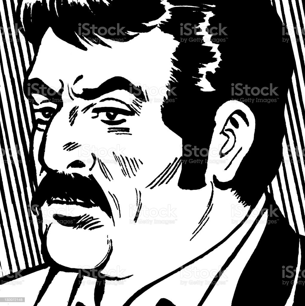 Mustache Man Close up vector art illustration