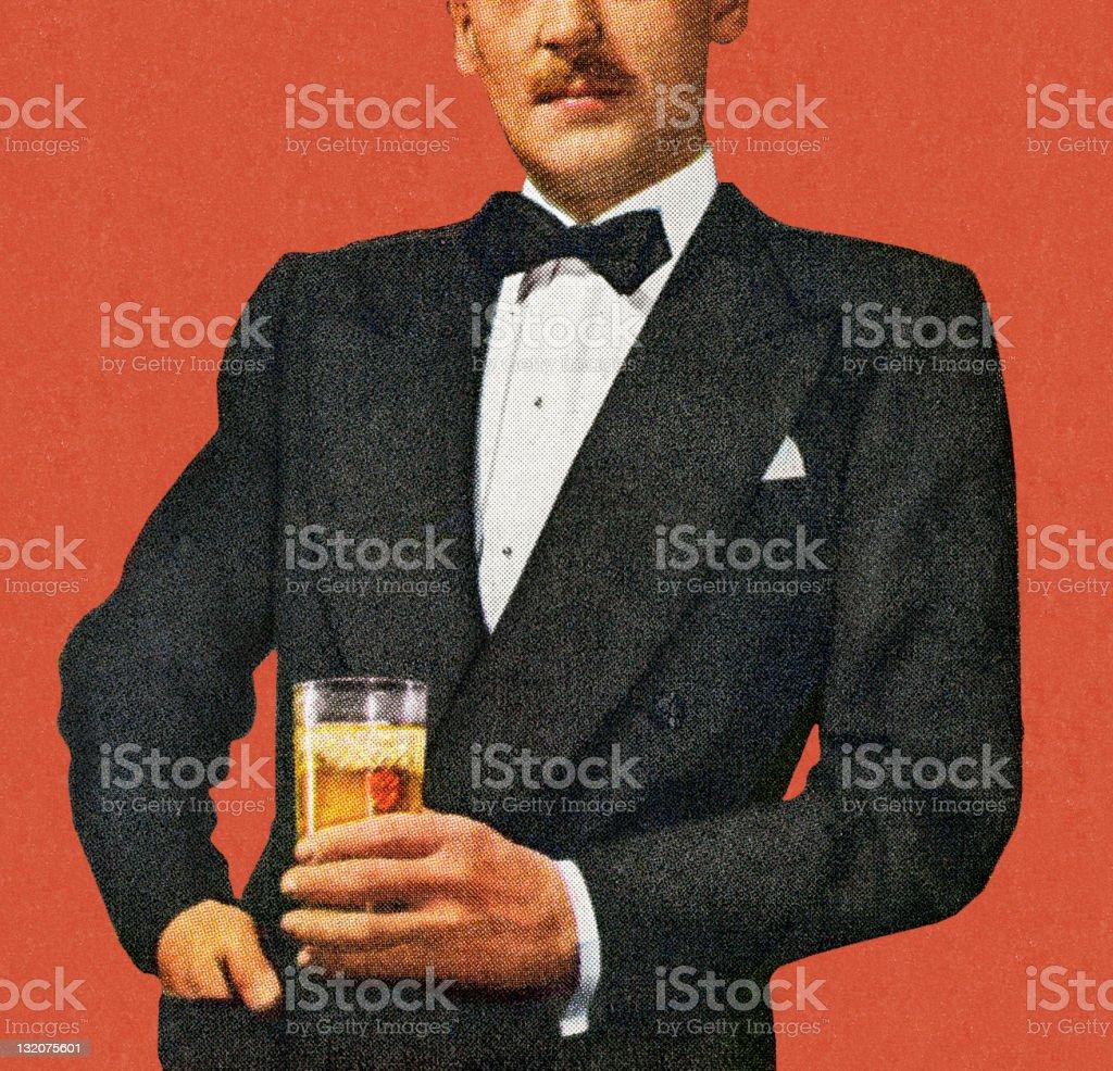 Mustache Man In Tuxedo Holding Drink royalty-free stock vector art