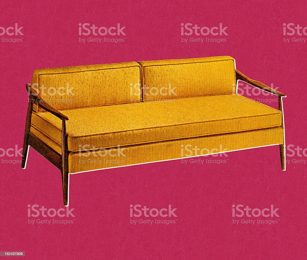 Mustard Yellow Couch royalty-free stock vector art