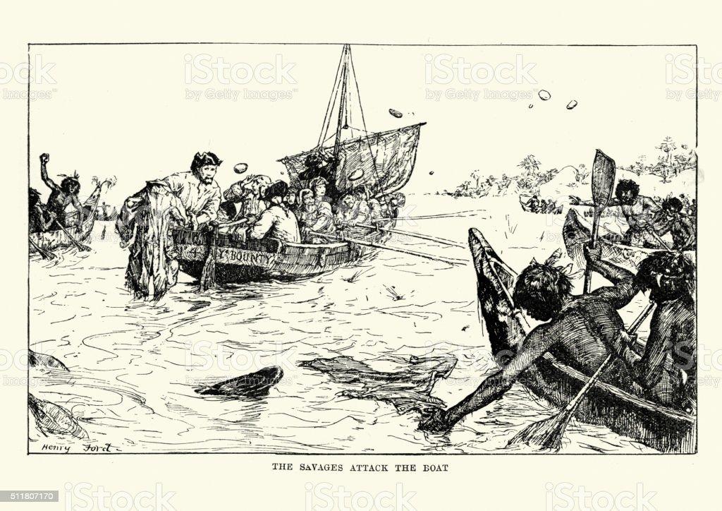 Mutiny on the Bounty - Captain Bligh under attack vector art illustration