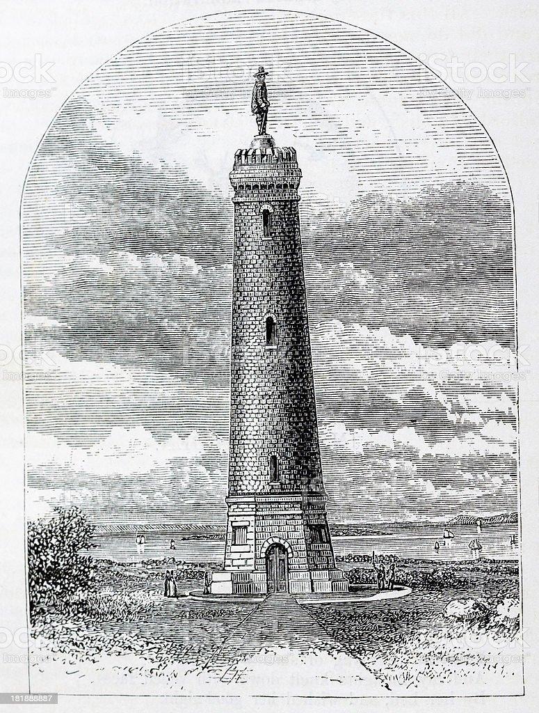 Myles Standish Monument vector art illustration