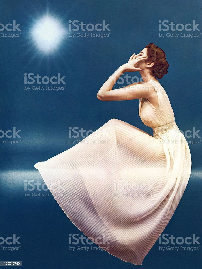 Mysterious Woman in a Gown royalty-free stock vector art