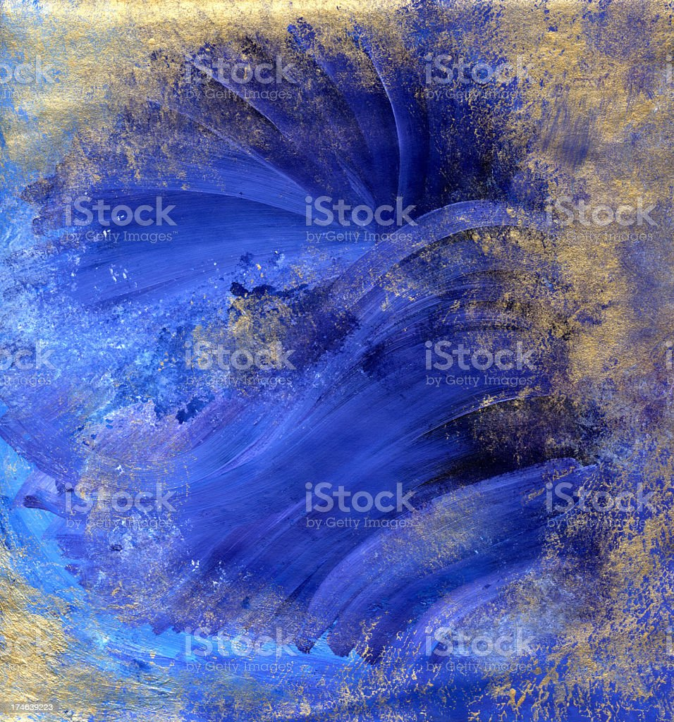 Mystical Blues with Gold vector art illustration