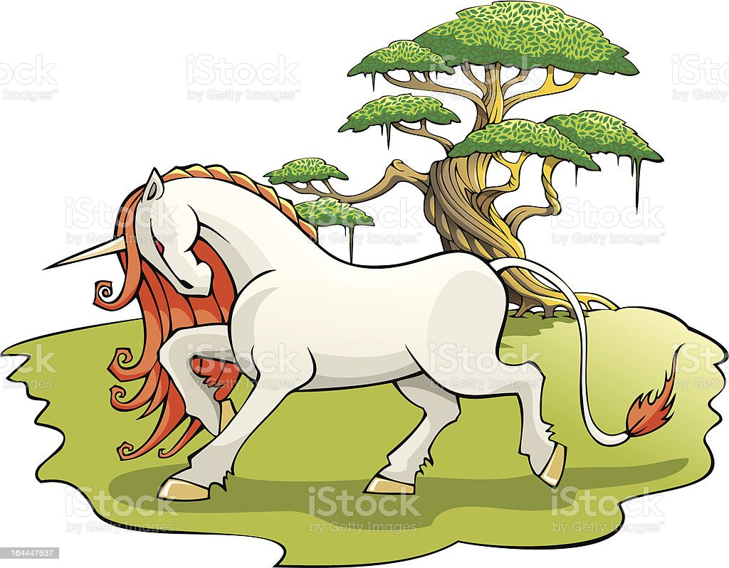 Mythical Unicorn in the enchanted forest royalty-free stock vector art