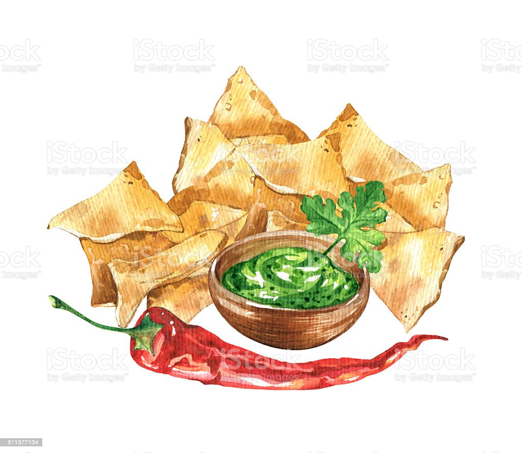 Nachos and guacamole. Mexican national food. vector art illustration