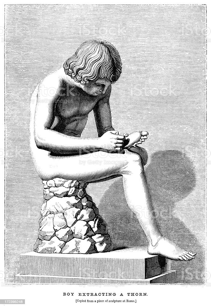 Naked boy removing a thorn from his foot (Victorian woodcut) royalty-free stock vector art