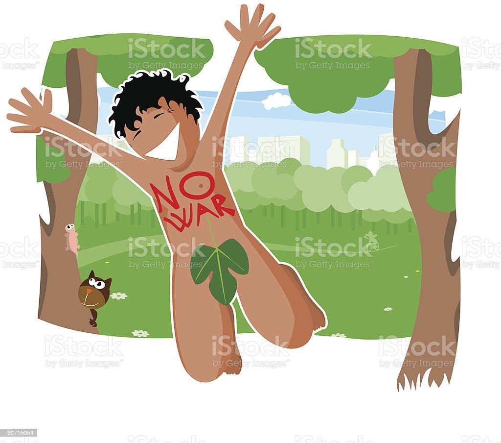 Naked demonstrator, streaker vector art illustration