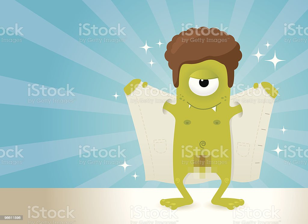 Naked monster showing his stuff royalty-free stock vector art