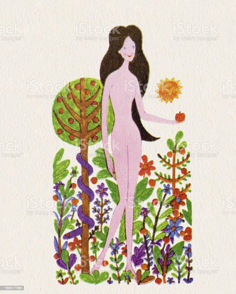 Naked Woman in a Garden royalty-free stock vector art