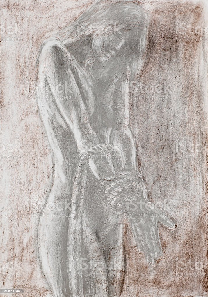 naked woman tied with rope vector art illustration