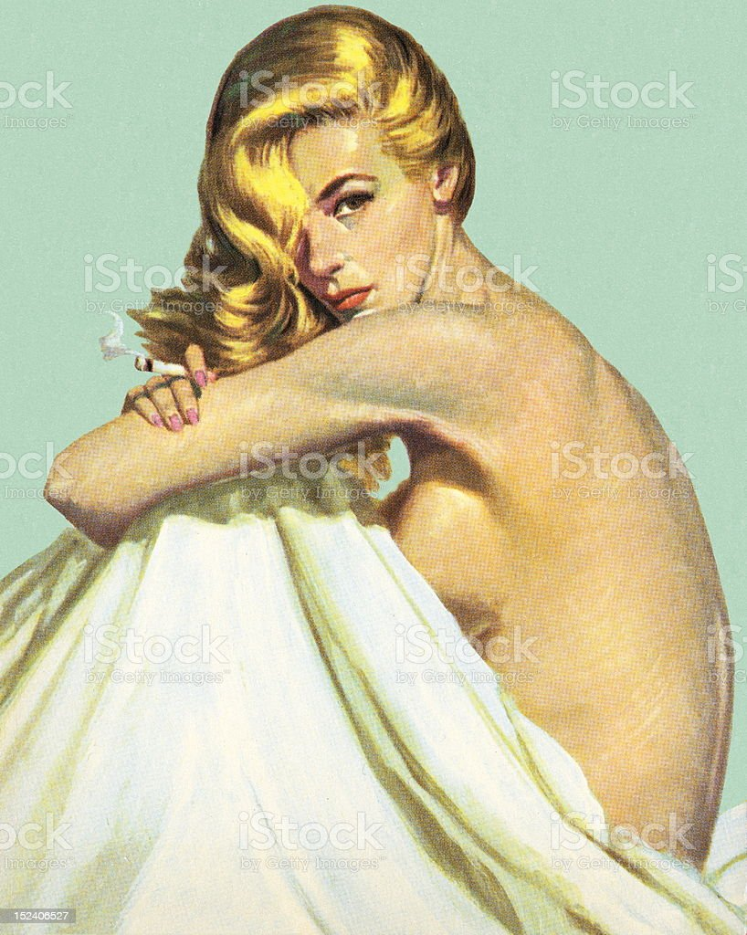 Naked Woman With Sheet royalty-free stock vector art