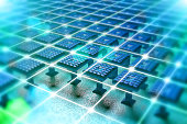 Nanotechnology background with micro electronic and network components