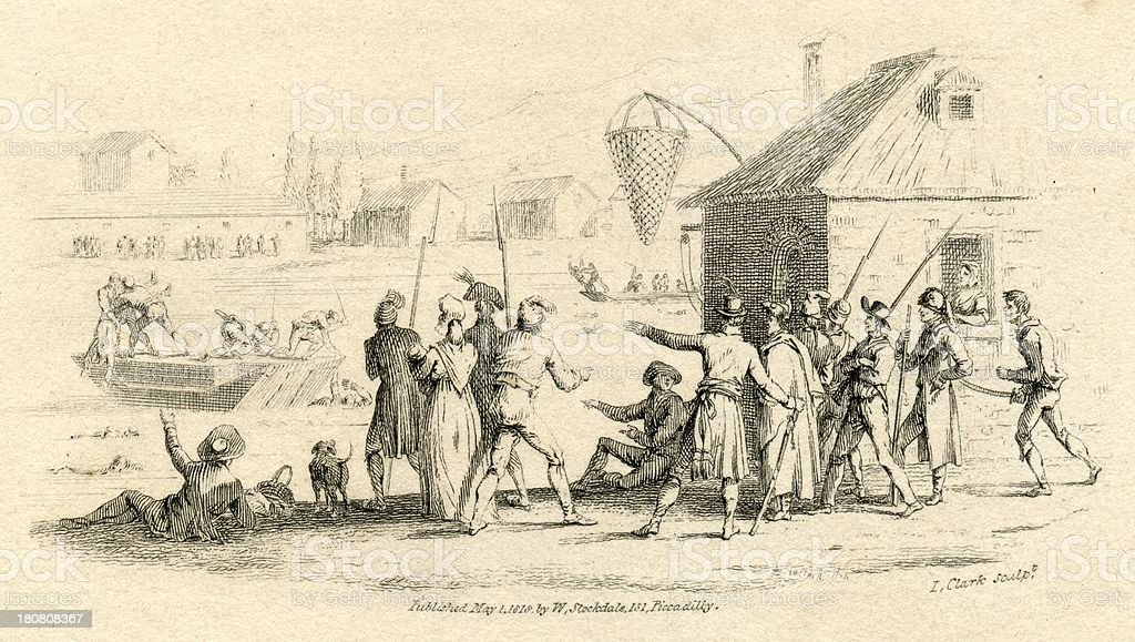 Nantes drownings French Revolution 19th century engraving royalty-free stock vector art
