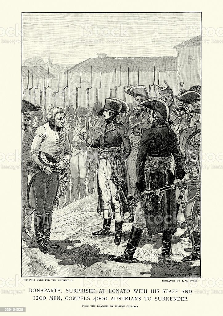 Napoleon Bonaparte accepting the Austrian surrender vector art illustration