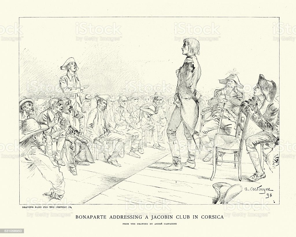 Napoleon Bonaparte addressing a Jacobin club in Corsica vector art illustration