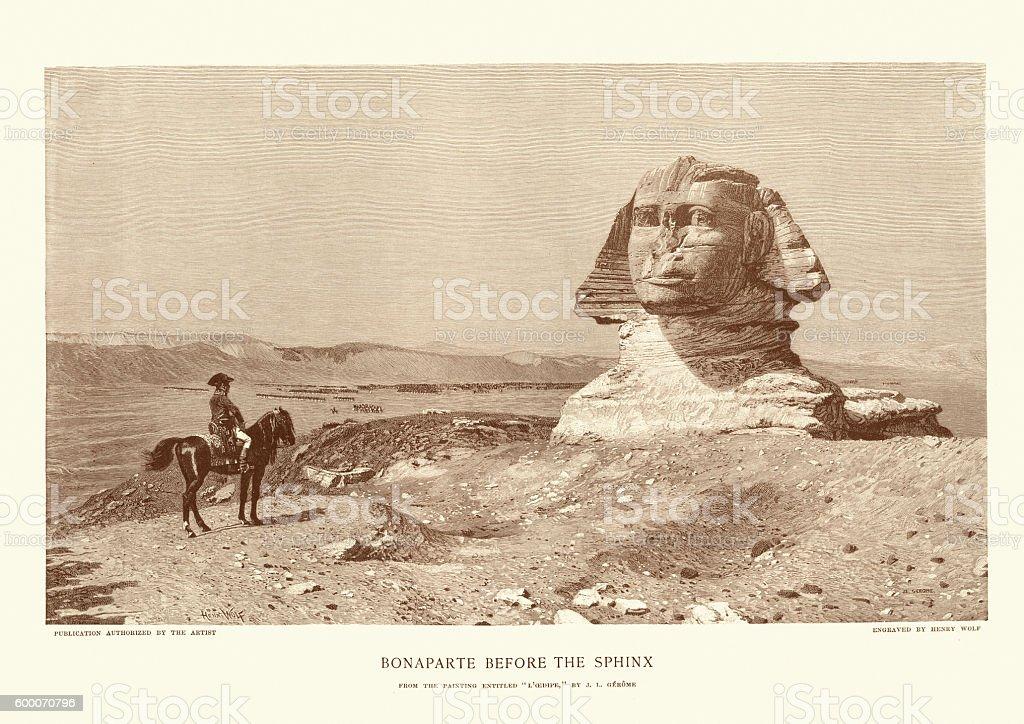 Napoleon Bonaparte before the Sphinx vector art illustration