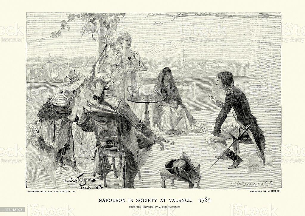 Napoleon Bonaparte in Society at Valence, 1785 vector art illustration