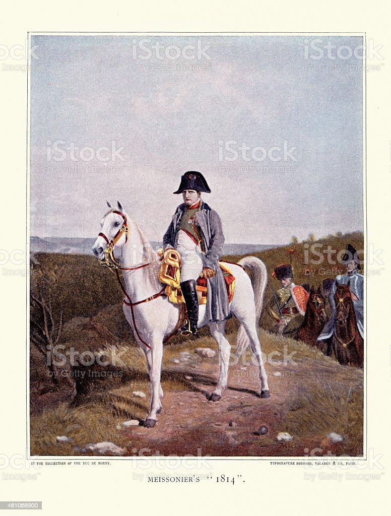 Napoleon Bonaparte on Horseback 1814 vector art illustration